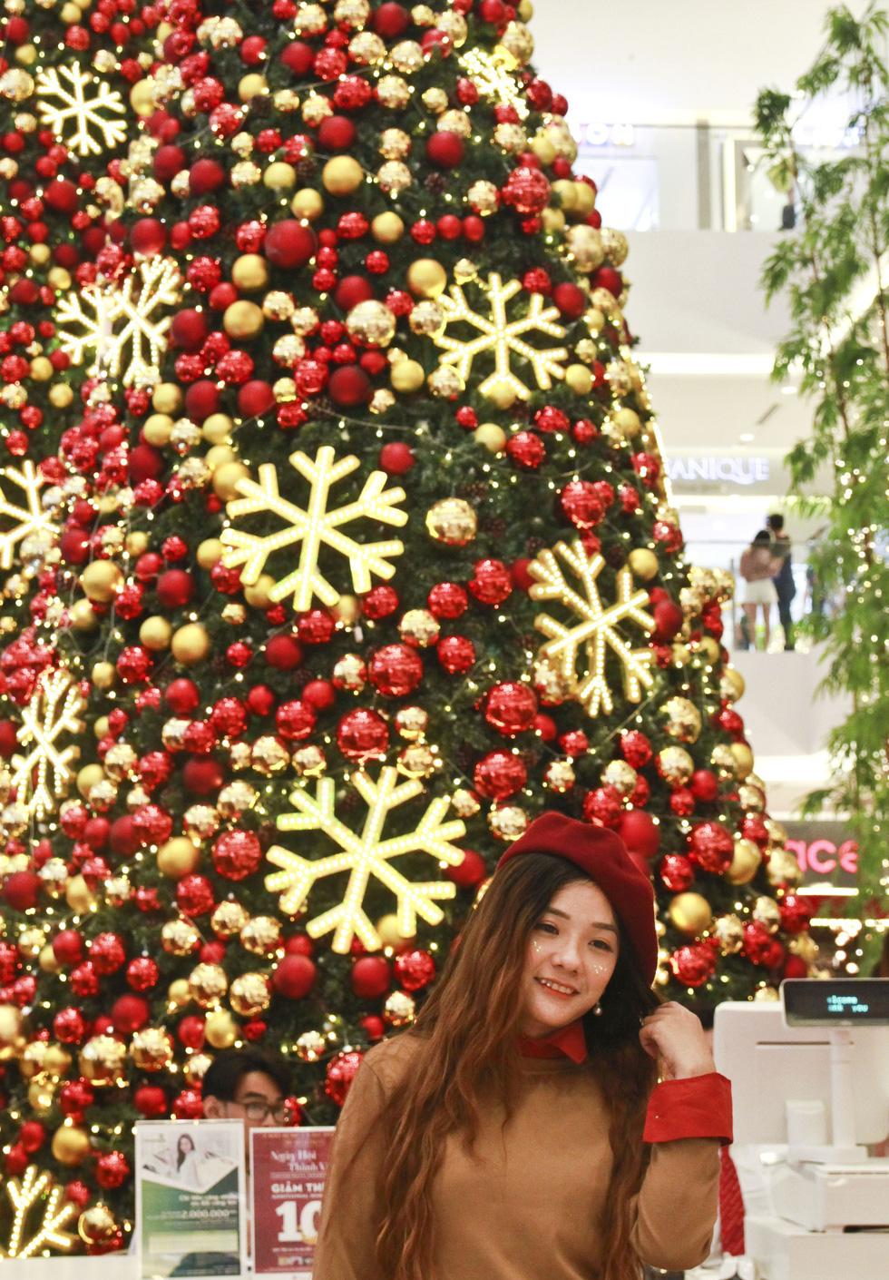 Chụp ảnh trên nền cây thông Noel là sự lựa chọn của nhiều bạn nữ