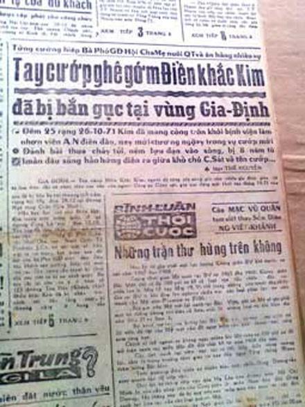 Báo chí ở Sài Gòn đều đăng tên Điền Khắc Kim rất lớn