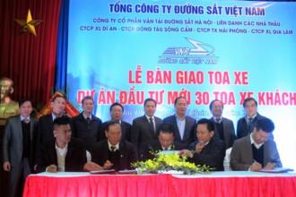 Lễ bàn giao 30 toa xe khách chất lượng 5 sao cho Tổng công ty Đường sắt Việt Nam (Ảnh: Thanh Thúy)