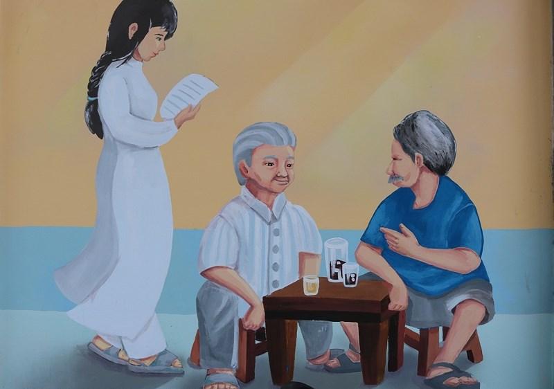 Còn đây là một bức bích họa nằm trên đường Bùi Thị Xuân... Hình ảnh cô gái mặc áo dài trắng, hai cụ già ngồi trò chuyện cùng nhau... Đã từng có một Sài Gòn như thế. Ảnh: LA HIÊN
