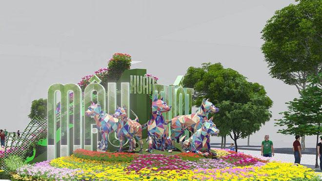 Phối cảnh Linh vật Mậu Tuất 2018 ở cổng chính của đường hoa