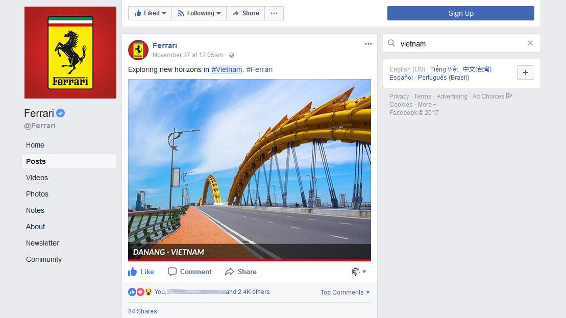 """rang facebook chính thức của Ferrari đã đăng tải nội dung """"thả thính"""" với hình ảnh cầu sông Hàn, Đà Nẵng."""