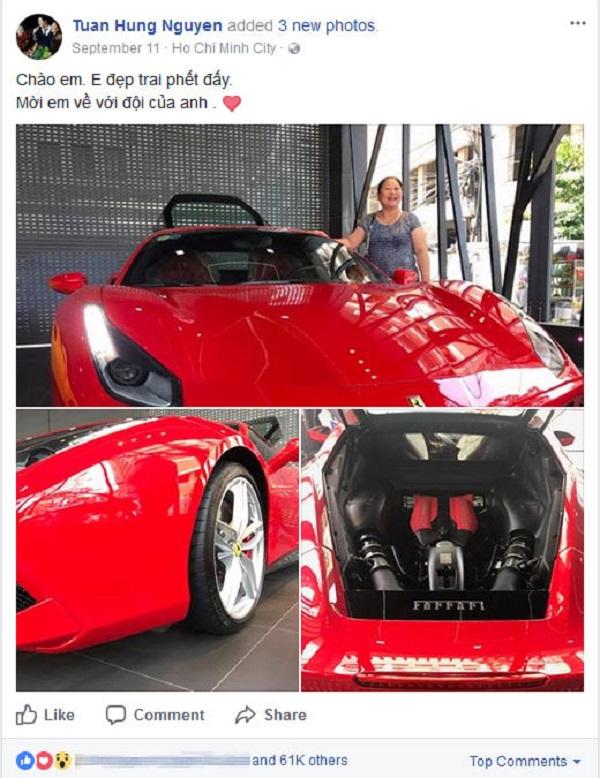 Tuấn Hưng khoe siêu xe trên facebook cá nhân.
