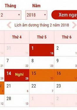 Lịch nghỉ tết Nguyên đán 2017 chính thức