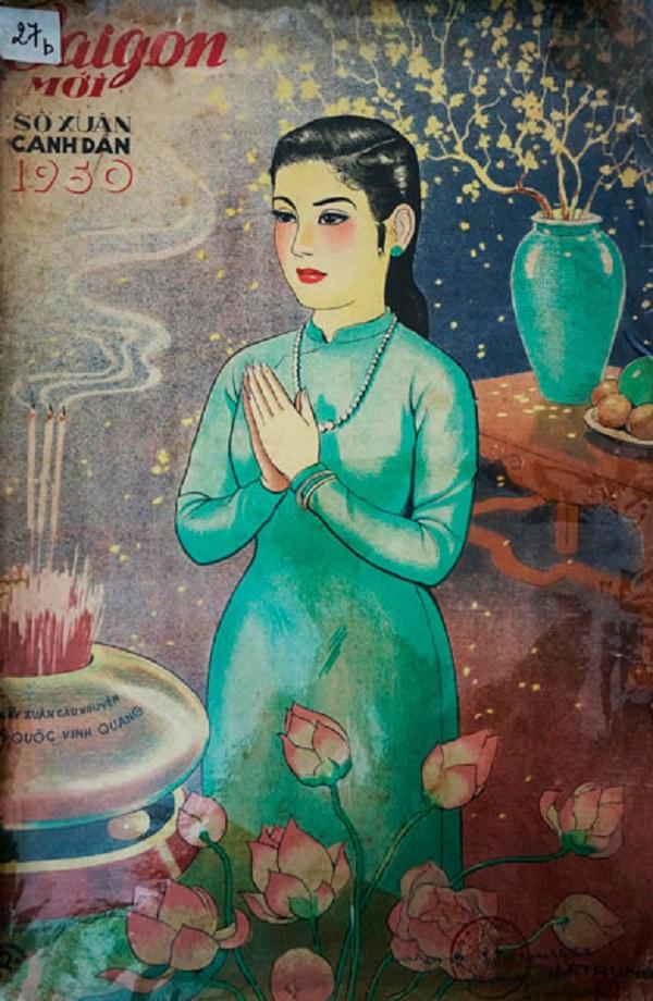Bìa Báo Xuân Sài Gòn mới này của Thái Văn Ngôn, họa sĩ chuyên vẽ bìa báo Xuân và  tạo mẫu sơn mài hãng Thành Lễ nổi tiếng trước đây (sưu tập Phạm Công Luận)