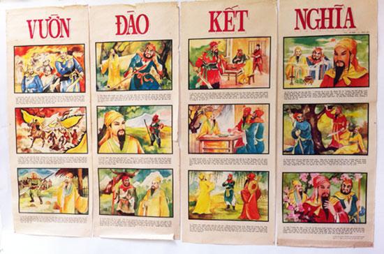 """Dạng tranh tứ bình (phụ bản kèm báo Xuân) đề cao """"trung hiếu tiết nghĩa"""" qua các tuồng tích như Thạch Sanh - Lý Thông,  Lâm Sanh - Xuân Nương rất được ưa chuộng từ thập niên 1960 ở Sài Gòn và các tỉnh miền Nam (sưu tập Phạm Công Luận)"""