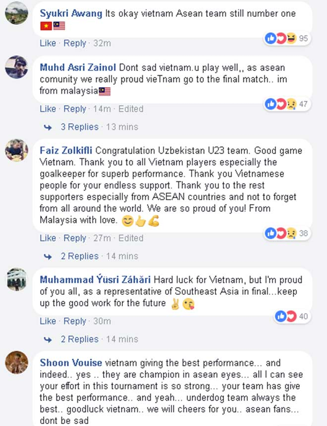Các CĐV nước bạn ca tụng U23 Việt Nam trên Facebook