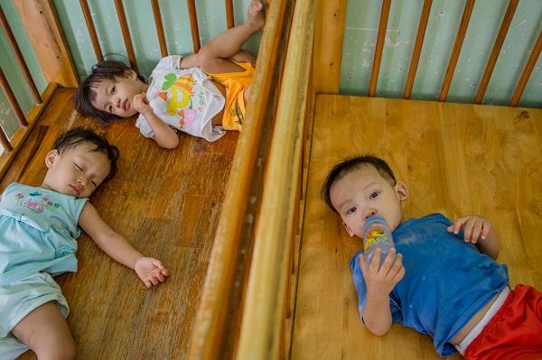 Các bé tự ăn, tự ngủ, thậm chí tự lo sức khoẻ cho nhau.
