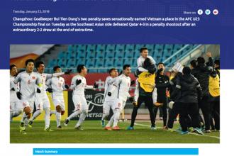 Trang chủ của AFC đưa tin về chiến thắng của U-23 VN. Ảnh chụp màn hình