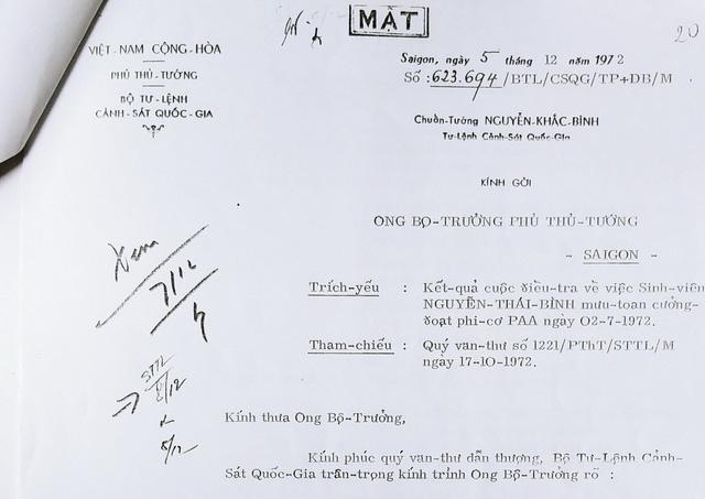 Báo cáo mật của tư lệnh cảnh sát quốc gia VNCH về vụ Nguyễn Thái Bình - Tài liệu TTLTQG2