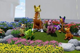 Linh vật đường hoa Nguyễn Huệ năm 2018 là những chú chó Phú Quốc đặt ở vị trí trung tâm cổng chào. Ảnh: Ban tổ chức