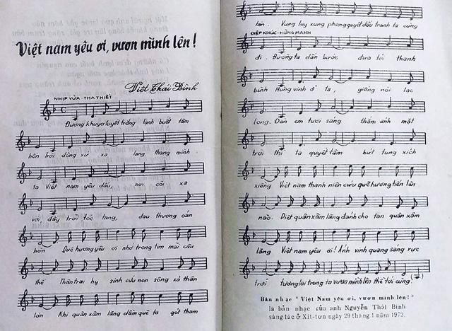 Một ca khúc do anh Nguyễn Thái Bình sáng tác năm 1972