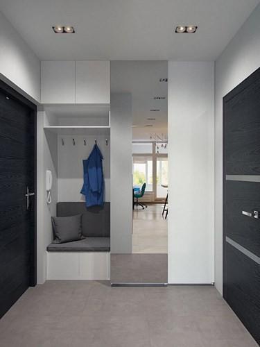Căn hộ bao gồm các phòng chức năng chính: nhà bếp, phòng ăn, phòng khách, sofa, cabin tắm, máy giặt, không gian lưu trữ.