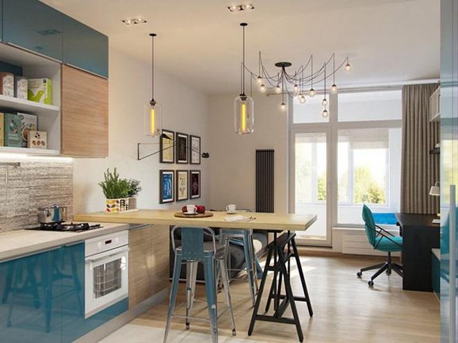 Không gian trong nhà sử dụng màu sắc tươi sáng, phong cách hiện đại, trẻ trung