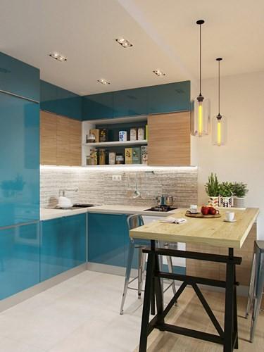 Nhà bếp khá rộng rãi, sử dụng những tấm kính màu sáng, trang trí đơn giản nhưng đầy tinh tế.