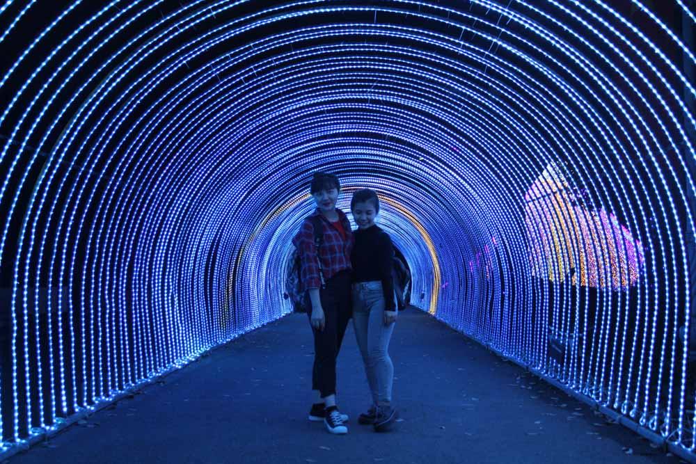 Các bạn trẻ lưu lại hình ảnh sống động dưới vòm cổng được thiết kế bởi hàng nghìn đèn LED lung linh màu sắc