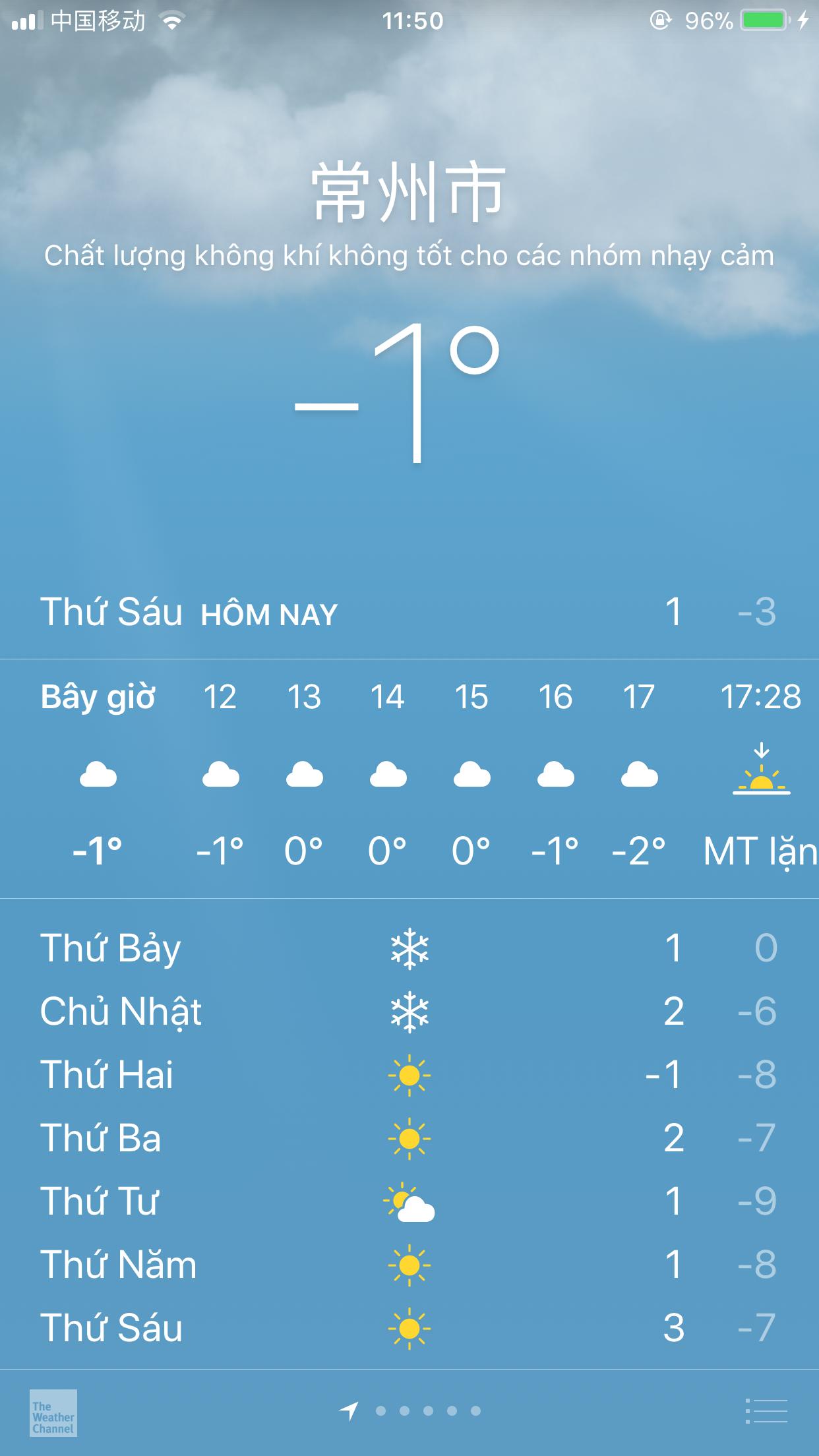 Nhiệt độ hiện tại ở Thường Châu, Trung Quốc. Ảnh: CĐV cung cấp.