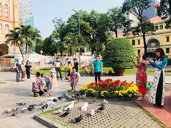 Du khách phần lớn mang theo hạt đỗ xanh, gạo và lúa để cho chim Bồ Câu (biểu tượng hòa bình) sinh sống ở khu vực trung tâm Sòn Gòn