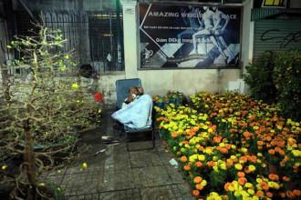 Gần 2 giờ sáng nhưng anh Lê Văn Long (Bến Tre) vẫn thức canh hoa ẢNH: ĐỨC ANH