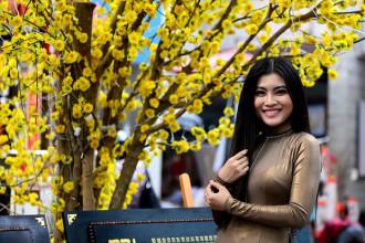 Thiếu nữ chụp ảnh tại phố Ông Đồ (Ảnh: Dân trí)