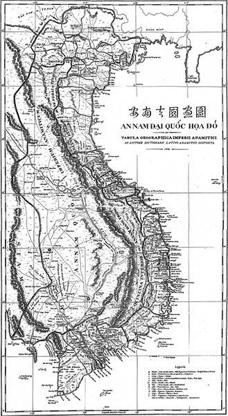 Bản đồ An Nam Đại Quốc họa đồ trong cuốn Tự điển Latin – Annamese  của Jean-Louis xuất bản năm 1838