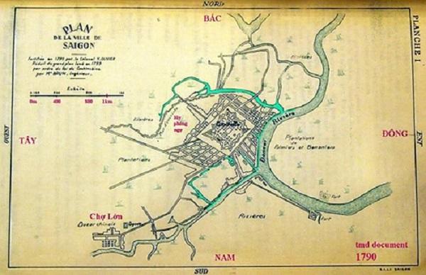 Bản đồ Sài Gòn cổ, được người Pháp vẽ vào năm 1790