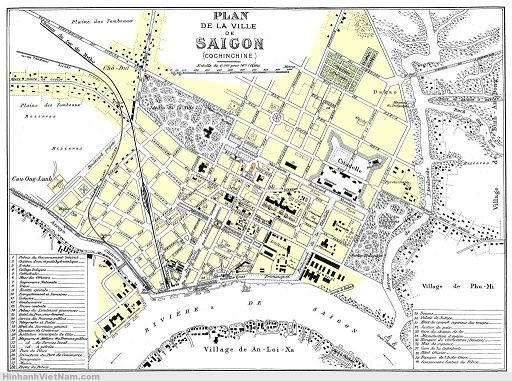 Bản đồ Sài Gòn năm 1896 do người Pháp lập quy hoạch