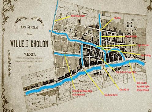Bản đồ vùng Chợ Lớn năm 1874 hồi chưa có Kênh Tẻ, được tách ra khỏi vùng Sài Gòn