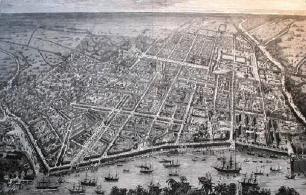 Sài Gòn 1881 do thuyền trưởng Favre vẽ. Đường Nguyễn Huệ ở chợ Bến Thành ngày nay, khi đó vẫn còn là con kênh. Thành Sài Gòn cháy rụi năm 1859