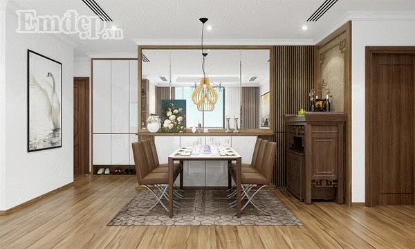 Sử dụng gương trang trí khéo léo giúp không gian bàn ăn rộng hơn, sang trọng hơn.