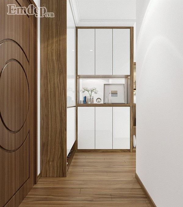 Sảnh vào nhà gọn gàng với tủ để đồ thiết kế nhỏ gọn, xinh xắn.