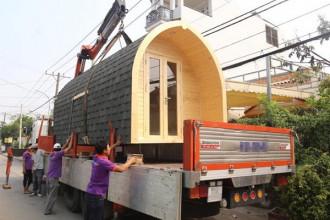 Căn nhà nhỏ có thể vận chuyển bằng ô tô tải.