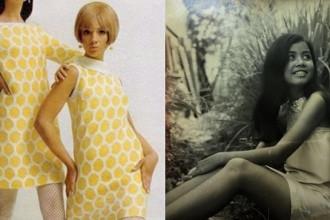 """Đây là kiểu thời trang đặc trưng của thập niên 60, trở về thời đại xưa hơn tầm 10 năm tức là thập niên 50 thì chiếc váy của các cô gái sẽ có độ phồng và thắt eo khá cao cùng với chiều dài phần tùng váy được hạ xuống ngang hoặc qua gối một tí, đây là hình ảnh từ nữ sinh trường dòng Bích Trâm, một trong những """"hot girl"""" khá nổi tiếng giới sinh viên, học sinh thời đó."""