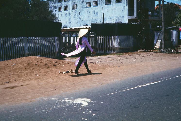 Cô gái mặc áo dài tím bước trên phố. Ảnh: Terry Nelson Flickr.
