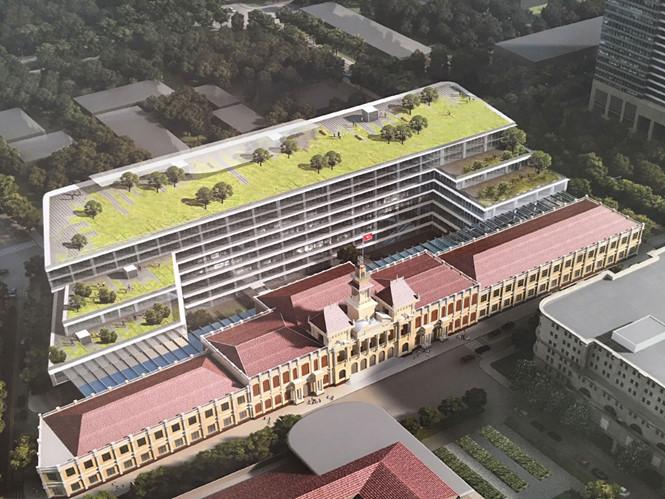 Phối cảnh tổng thể công trình xây dựng mở rộng, nâng cấp trụ sở HĐND, UBND TP.HCM ẢNH: ĐÌNH PHÚ