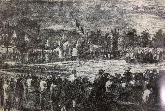 Ngày 7.10.1877, Đức cha Isidore Colombert, tên Việt là Đức cha Mỹ, giám mục đại diện tổng tòa giáo phận Tây Đàng Trong lúc bấy giờ, đã cử hành nghi thức làm phép và đặt viên đá đầu tiên xây dựng nhà thờ Sài Gòn (nay là nhà thờ Đức Bà).