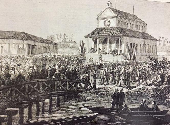 Lễ khánh thành nhà thờ Sài Gòn - nhà thờ chính tòa của của giáo phận Tây Đàng Trong được chính quyền Pháp xây dựng bên dòng Kênh Lớn vào năm 1863