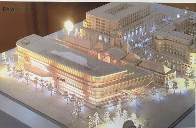 Hình khối công trình xây dựng mở rộng, nâng cấp trụ sở HĐND, UBND TP.HCM nhìn từ phía đường Lý Tự Trọng ẢNH: ĐÌNH PHÚ CHỤP LẠI TỪ TRIỂN LÃM