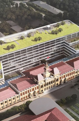 Phối cảnh tổng thể công trình xây dựng mở rộng, nâng cấp trụ sở HĐND, UBND TP.HCM ẢNH: ĐÌNH PHÚ CHỤP LẠI TỪ TRIỂN LÃM