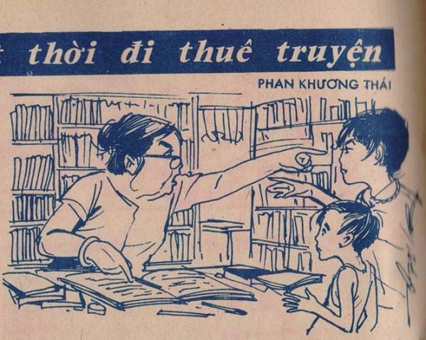 Tranh minh họa tiệm cho thuê truyện ở Sài Gòn thập niên 1970 trên Báo Thiếu Nhi ẢNH: L.M.Q