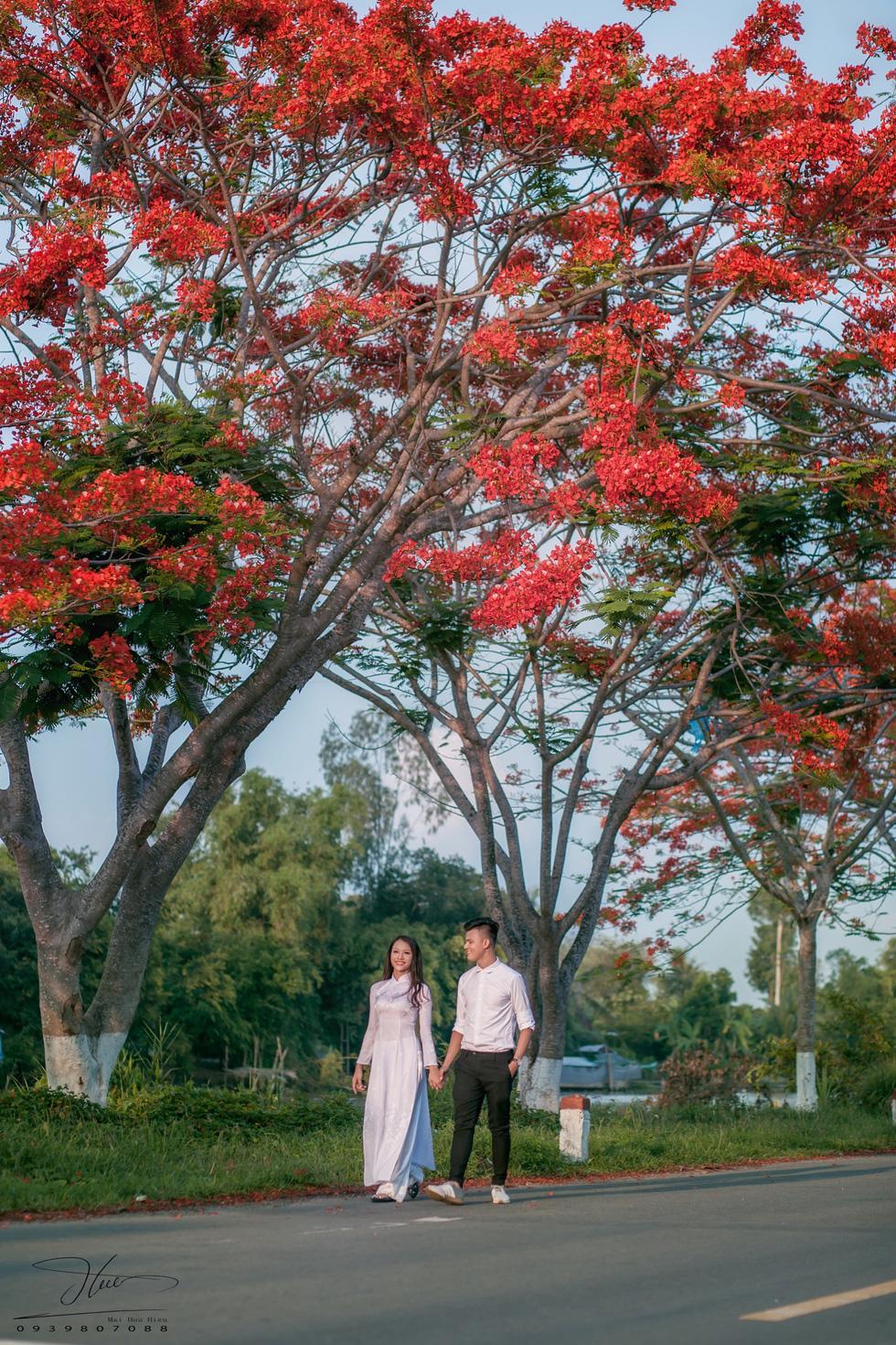 Bạn Phạm Huy (công tác tại TP Cao Lãnh, Đồng Tháp) rủ bạn đến chụp ảnh với hoa phượng. Ý tưởng được đôi bạn đưa ra là mặc áo dài, sơmi trắng để tái hiện hình ảnh tuổi học trò - Ảnh: HỮU HIẾU