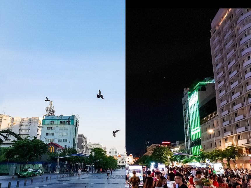 Giống với Hà Anh Tuấn, Lê Hiếu cũng chia sẻ một bức ảnh Sài Gòn náo nhiệt chụp tại phố đi bộ Nguyễn Huệ. Tản bộ lúc 6h sáng và 21h đêm, anh có dịp cảm nhận sự đối lập thú vị trên phố: khi thì bình yên dưới cái nắng chói của những ngày đầu hè, khi thì sôi động với dòng người qua lại nhộn nhịp và sắc màu rực rỡ về đêm. Bức ảnh ghép sáng và tối được nam ca sĩ chụp bằng smartphone Galaxy S9 sở hữu hai khẩu độ độc đáo: f/1.5 và f/2.4. Anh cũng không quên dùng lời bài hát Vài lần đón đưa để gửi gắm tâm tình của mình.