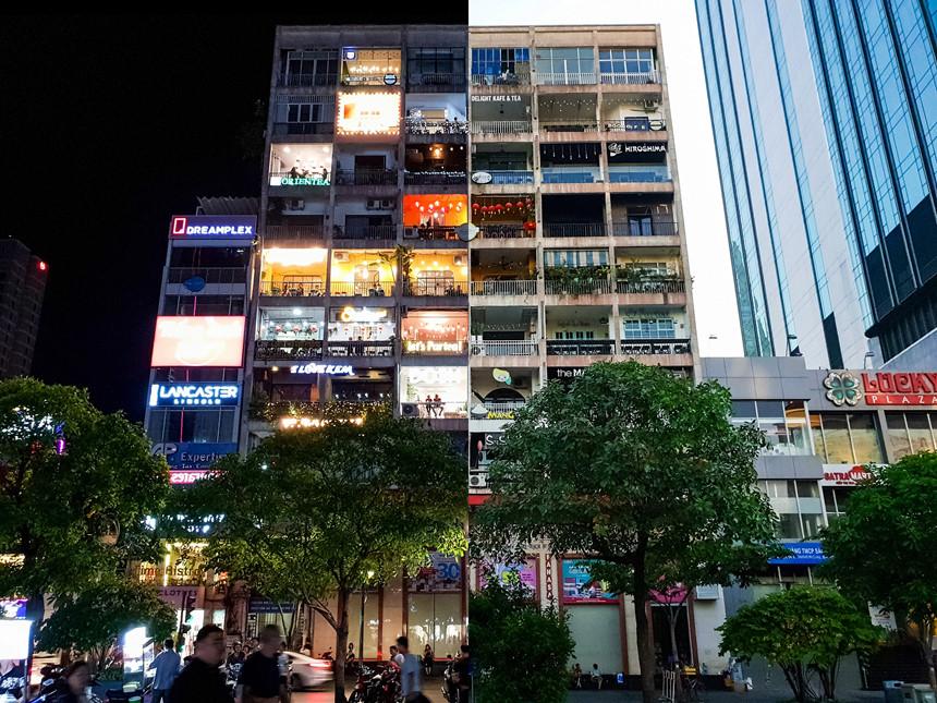 """""""Chuyện 69"""" của đạo diễn Nguyễn Quang Dũng cũng gắn liền với chung cư Nguyễn Huệ, nơi bất kể đêm ngày đều toát lên sức hút hoài cổ. Đạo diễn tâm đắc với dáng vẻ yên bình của tòa nhà như vẫn còn chìm vào trong giấc ngủ lúc 6h sáng, nhưng khi đêm xuống, những ngọn đèn hắt ra từ mái hiên tạo nên bức tranh đa sắc màu. """"Đèn Sài Gòn ngọn xanh ngọn đỏ, đường Sài Gòn chỉ tỏ mà không thấy lu"""". Vị đạo diễn hài hước không quên bật mí: """"Sài Gòn không lu vì dùng Galaxy S9/S9+ chụp tấm ảnh nào cũng nét, dù có trong điều kiện thiếu sáng đi chăng nữa""""."""