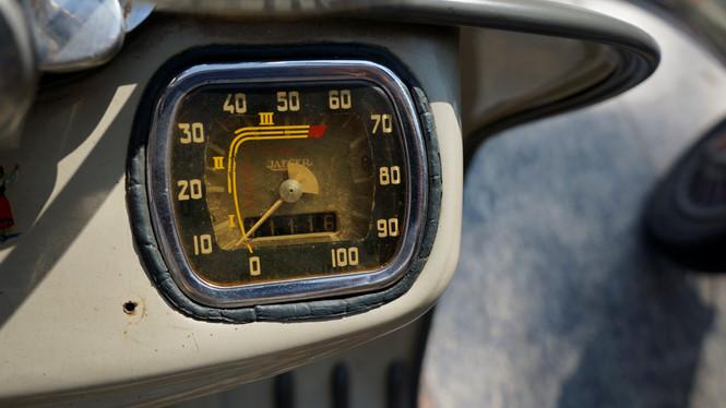 Sau 61 năm, chiếc Lambretta mới chạy được hơn 1 vạn km Ảnh Lê Tân