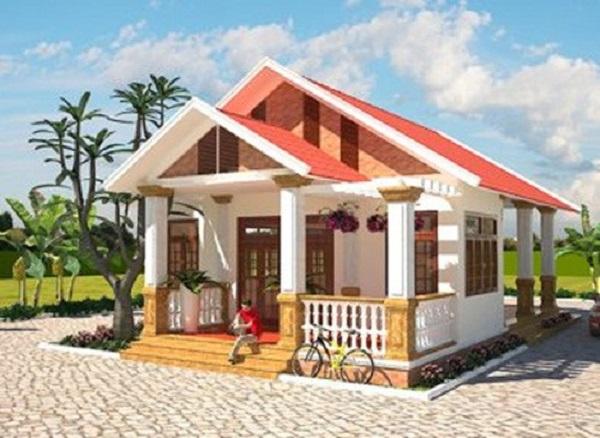 Mẫu nhà phố đẹp hiện đại phong cách Tây Âu với sân trước rộng thoáng, gồm 1 phòng khách, 2 phòng ngủ và bếp. Ảnh: Vinatrends.