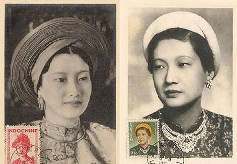 Chân dung Hoàng hậu Nam Phương in trên tem thời kỳ Pháp thuộc.