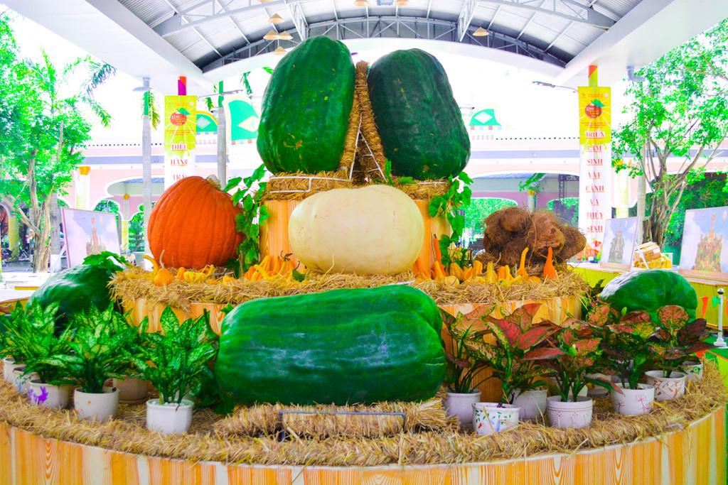 """Bí ngô vua 150 kg, bí đao khổng lồ 100 kg, dừa 15kg cùng nhiều loại củ quả khổng lồ, trái cây lạ sẽ được trưng bày tại """"Khu vườn kỳ hoa dị thảo""""."""