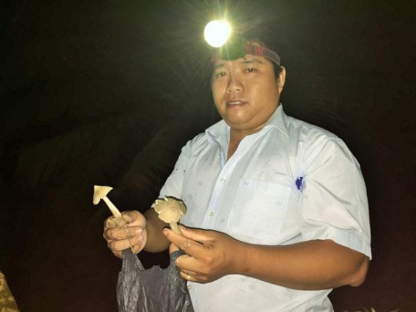 Anh Huỳnh Phúc Hậu (quê Giồng Trôm, tỉnh Bến Tre) sử dụng đèn pin để đi kiếm nấm mối lúc trời còn tối. Ảnh: Mậu Trường