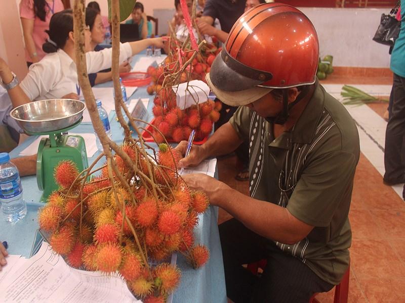 Nông dân hào hứng đem sản phẩm trái cây ngon dự thi