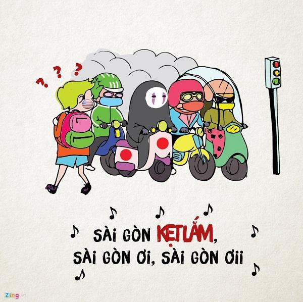 Ở Sài Gòn, ra đường giờ nào cũng có thể kẹt xe. Kẹt xuyên thời gian, xuyên không gian, nắng cũng kẹt mà mưa thì bao kẹt.